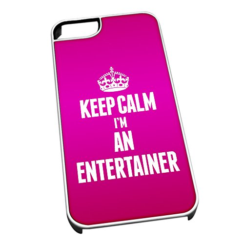 Bianco cover per iPhone 5/5S 2578 rosa Keep Calm I m An Entertainer