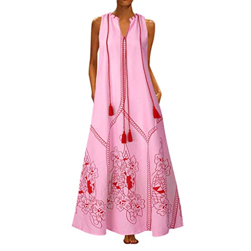 【MOHOLL】 Women Sleeveless Deep V Neck Loose Long Maxi Casual Dress Vintage Butterfly Printed Summer Dress ()