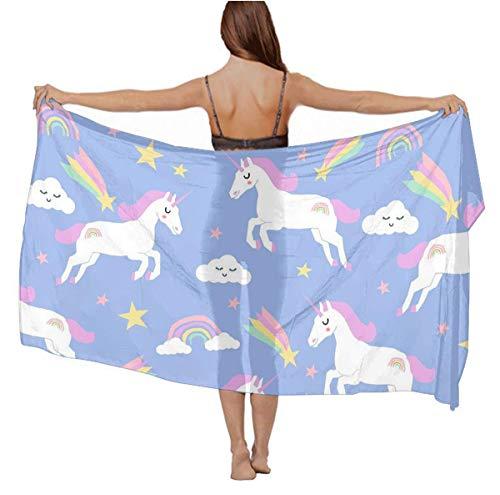 Stylish Lightweught Shawls - Vacasion Evening Party Swimsuit Shawls Cashmere Feel Head Wrap Long Summer Elegant Wrap Sunscreen Paisley Shawl - Rainbow Clouds Stars Cute Unicorn