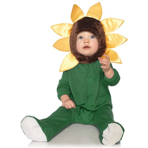 Leg Avenue Anne Geddes Baby Sunflower Hooded Bodysuit with Petal Non-Skid Soles Velcro Closure, Yellow/Gree, 12M-18M (Sunflower Halloween Costume Infant)
