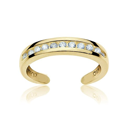 GemStar USA Yellow Gold Flash Sterling Silver Cubic Zirconia Channel-Set Polished Adjustable Toe Ring