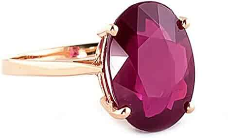Galaxy Gold 14k Solid Rose Gold Ring with Natural 7.5 Carat Oval-Shaped Ruby