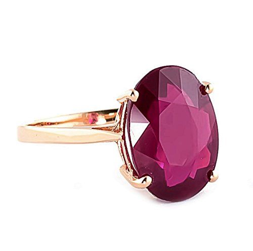 (Galaxy Gold 14k Solid Rose Gold Ring with Natural 7.5 Carat Oval-Shaped Ruby - Size 7)