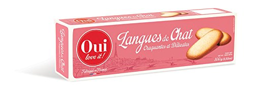 Oui Love It, French Cat Tongue Cookies (Langues de Chat), 100g Box
