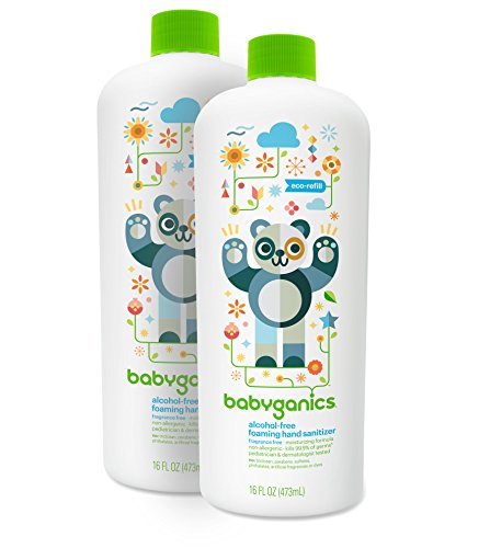 Skin Sanitiser - Babyganics Alcohol-Free Foaming Hand Sanitizer Refill, Fragrance Free, 16oz Bottle (Pack of 2)