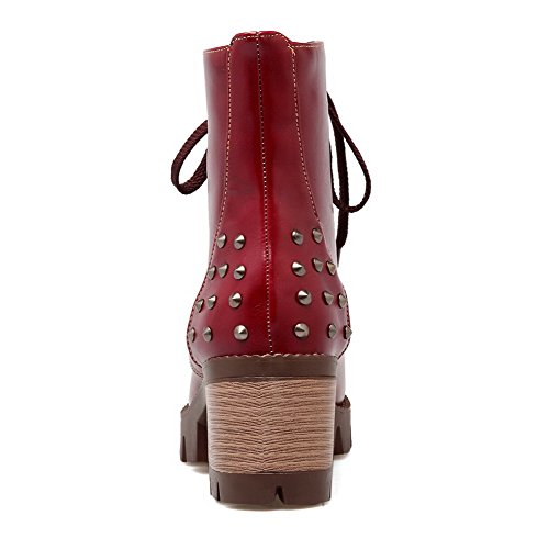 Toe Round Solid High Red Boots Women's WeenFashion Heels up Lace PU Closed q7Y1nFw
