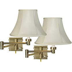 Set of 2 Antique Brass Creme Bell Swing Arm Wall Lamps
