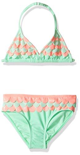 Hula Girl Bikini - Hulu Star Little Girls' Toddler Mermaid Scallops Two Piece Bikini Swimsuit, Mint/Pink, 2T