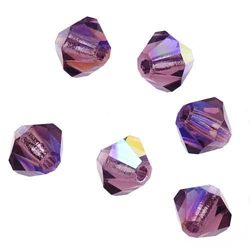 Preciosa Czech Crystal Bicones Glass Beads 4mm 'Amethyst AB' (50) ()