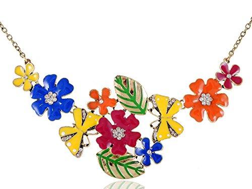Alilang Womens Golden Tone Crystal Floral Multicolor Enamel Flower Bib Statement Necklace