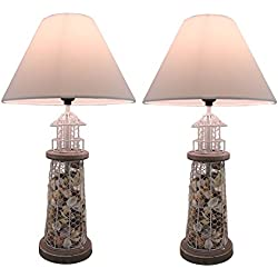 Metal Table Lamps Set Of 2 Seashell Filled Metal Mesh Lighthouse Lamps 11.75 X 21.5 X 11.75 Inches White