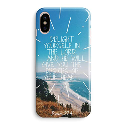 iPhone XR Case Girls Women.Cute Flowers Christian Bible Verses Life Quotes Psalm 37:4 Delight Yourself Lord Will Give You The Desires Your Heart Soft Clear Side Case Compatible for iPhone XR ()
