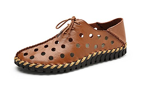 2018 New Men's Leather Casual Shoes, Men's Driving Shoes Lazy Shoes Hollow Shoes Brown