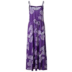 Women Sleeveless V Neck Spaghetti Strap Floral Print Beach Boho Maxi Dress Please check the Size Chart before order. If you are not sure the size, please send message to us.    Item specificsSeason: SummerGender: Women Material: Polyester Dec...
