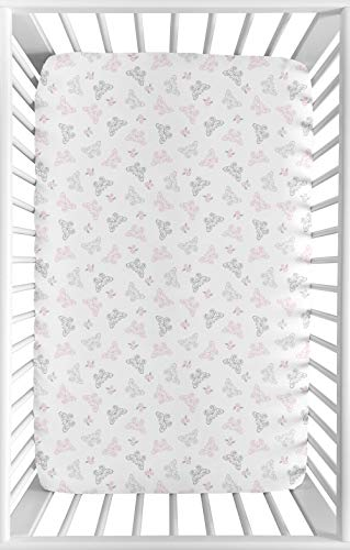 Sweet Jojo Designs Pink, Grey and White Butterfly Baby Fitted Mini Portable Crib Sheet for Alexa Collection