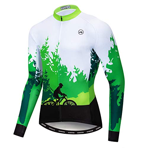Cycling Jersey Men's Long Sleeve Full Zip Moisture Wicking, Breathable Running Top Shine Green