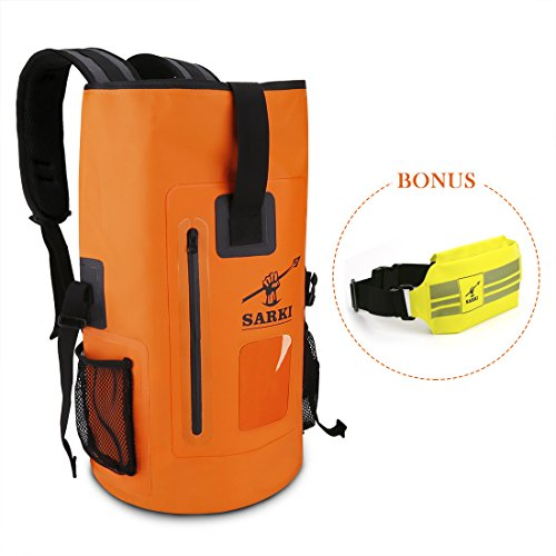 SARKI 30L Waterproof Backpack Dry Float Bag with Zipper Pocket and Adjustable Shoulder Straps - Large Sack for Kayaking,Beach,Snowboarding Water sports - extra bonus Waterproof Pouch