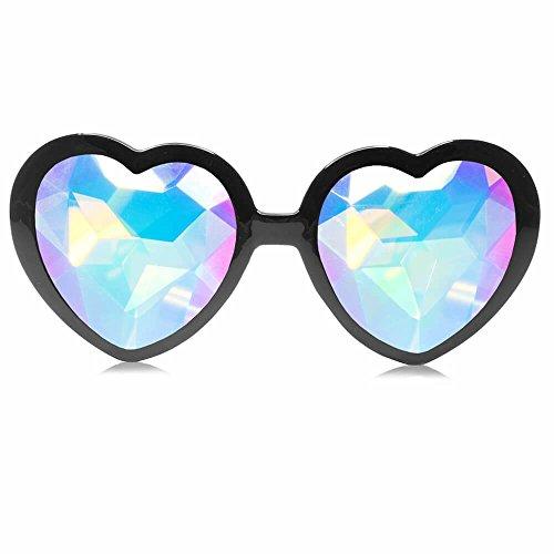 - GloFX Black Heart Shaped Kaleidoscope Glasses - festival rave edm concert effect plur firework glasses