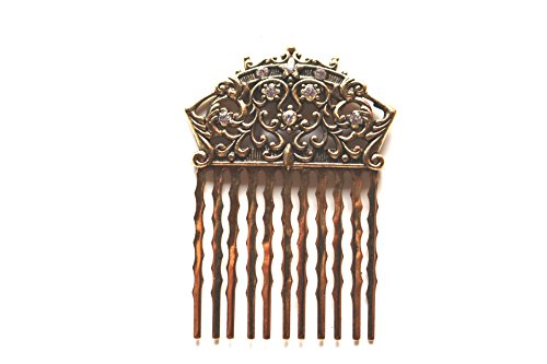Beaucoup Designs Wedding Bride Bridal Hair Comb With Swarovski Crystals (Gold)