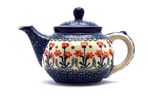 Polish Pottery Teapot - 14 oz. - Peach Spring Daisy
