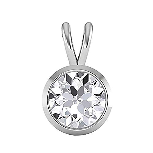 14K White Gold Over Round Brilliant Cut Bezel Set Highest Quality Moissanite VVS-VS Solitaire Pendant For Women