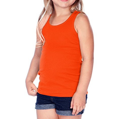 Kavio! Little Girls 3-6X Beater Tunic Tank Varsity Orange - Varsity Ladies Tank Top Rib