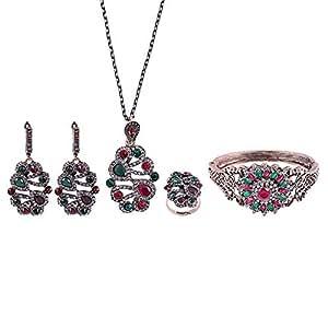 Love Pearl Copper Sea Corals Jade Jewelry Set - 5 Pieces