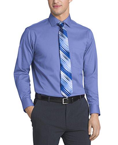 Van heusen men 39 s flex collar regular fit solid spread for Van heusen men s regular fit pincord dress shirt