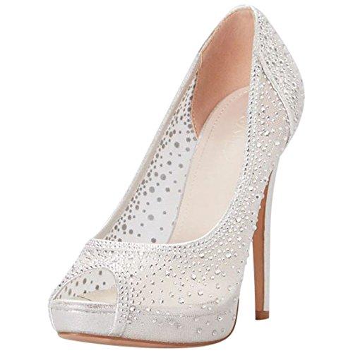 - David's Bridal Sheer Mesh Peep-Toe Platform Heels with Crystals Style Dreama, Silver, 6.5
