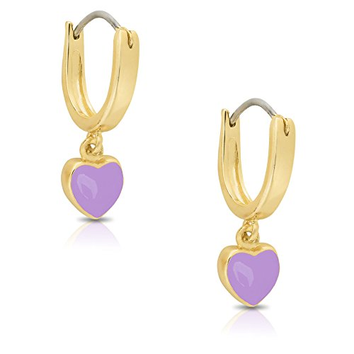 Jewelry for Girls - Heart Dangle Hoop Earrings - Gold Plated with Purple Enamel - By Lily Nily