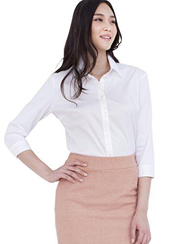 Leonis Women's Super Stretch Easy Care Poplin 3/4 Sleeve Shirt Black (XXS [0]) [ 32291 ] - Poplin 3/4 Sleeve Shirt