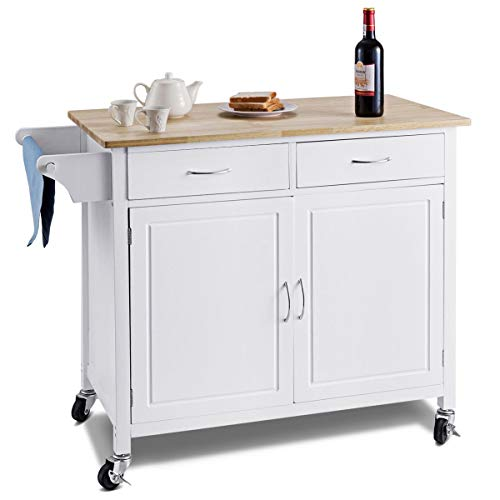 WATERJOY Rolling Kitchen Buffet Cart, Wood Utility Kitchen Storage Island Cart with Wood Top, Antique White(43