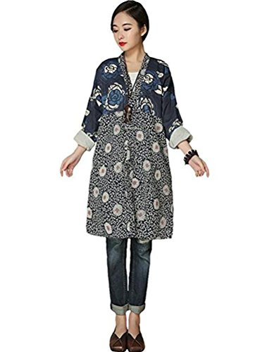 Safari Shirt Dress (Mordenmiss Women's Spring New Cotton Linen Outfit Floral Print Shirt With Pockets Style 1-Blue)