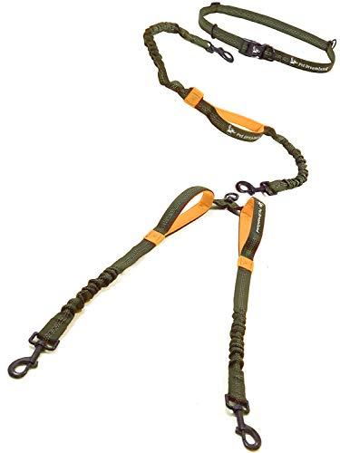 Pet Dreamland Double Leash Hands Free - Two Dogs Coupler Complete Set - No Tangle, No Pull Tandem Dual Bungee Lead (Khaki & Orange) (Tangle Splitter)