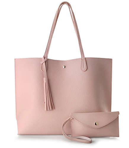 - Minimalist Clean Cut Pebbled Faux Leather Tote Womens Shoulder Handbag (Pink)