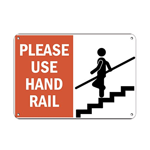 Please Use Hand Rail Hazard Sign Handrail Signs Aluminum METAL Sign 10 in x 7 in - Use Handrail