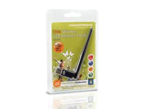 Conceptronic 150N Adaptador wireless USB 3.5dBi, 150 Mbit/s, Wireless, USB, WLAN, 64-bit WEP, 128-bit WEP, WPA, WPA2, 12 g