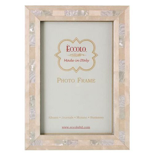 Eccolo Made in Italy Marquetry Wood Frame, Opalescent Wedding, Holds a 5 x 7-Inch Photo