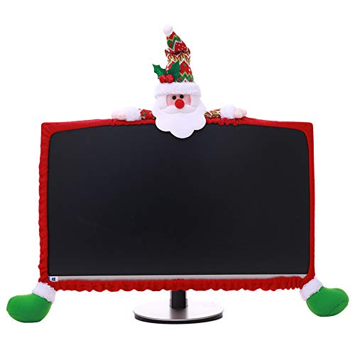 SHSYCER Christmas Decorative Elastic Cover for Computer Monitor Frame  fit for 19-27 inch Monitor,Santa Clause