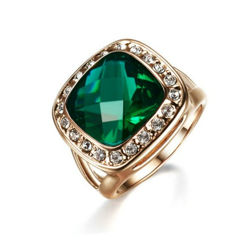 Yoursfs Emerald Crystal Rings for Women 18K Rose Gold Plated Party Jewelry Sparkle CZ Rings for Wedding