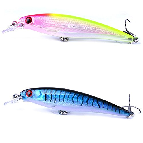 A-szcxtop Topwater Fishing Lures Floating Poppers Hard Lures Bass Baits With Treble Hooks 3D Eyes Swimbaits