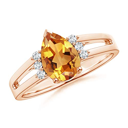 (Pear Citrine Ring with Triple Diamond Accents in 14K Rose Gold (9x6mm Citrine))