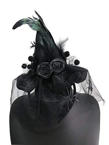 JIAJU Women's Witch Hat Mini Witch Feathers Hat Girl boy Kid Cosplay Costumes Halloween Spider Headband (Black) ()