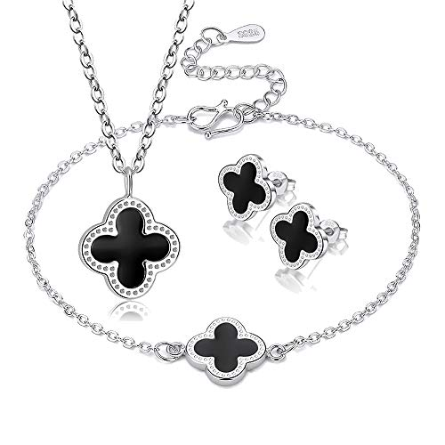 Fashion Lucky Four Leaf Clover Classic Black Stud Earrings Necklace Bracelet Jewelry Set for Women & Girls (Classic - Earrings Clover Lucky