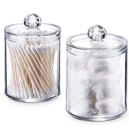 SheeChung Qtip Dispenser Apothecary Jars Bathroom - Qtip Holder Storage Canister Clear Plastic Acrylic Jar for Cotton Ball,Cotton Swab,Q-Tips,Cotton Rounds (2 Pack of 10 Oz.,Small)
