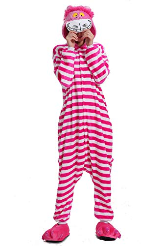 XMiniLife Unisex Onesie Adult Cosplay Costume Christmas Pajamas Halloween (Medium, Cheshire Cat) -