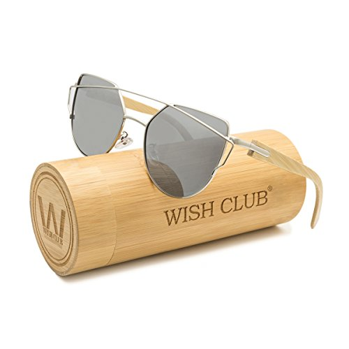 WISH CLUB Fashion Wood Polarized Cat Eye Lenses Sunglasses for Women and Men Wooden Bamboo Handmade Cateye Fashion Rimmed Eyewear Mirrored Light Glasses with Box UV400 Protection - Glasses Rimmed Steel