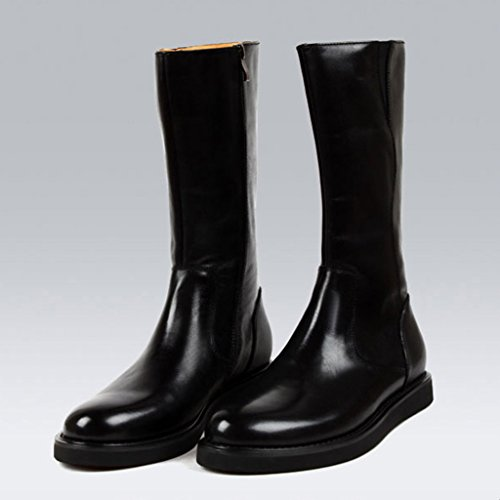 HWF Scarpe Uomo in Pelle Stivali alti Stivali da uomo Stivali stile inglese a canna lunga Martin stile nero (Colore : Nero, dimensioni : EU39/UK6) Nero