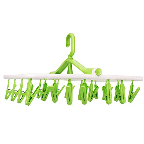 - iTOWE Drip Hanger with 20Clip Pegs, Portable Folding Clothes Drying Rack Space Saving Travel Rotatable Clips,Plastic Clothesline Hanging Underwear Socks Laundry Drying Hanger Rack for Home or Outdoor