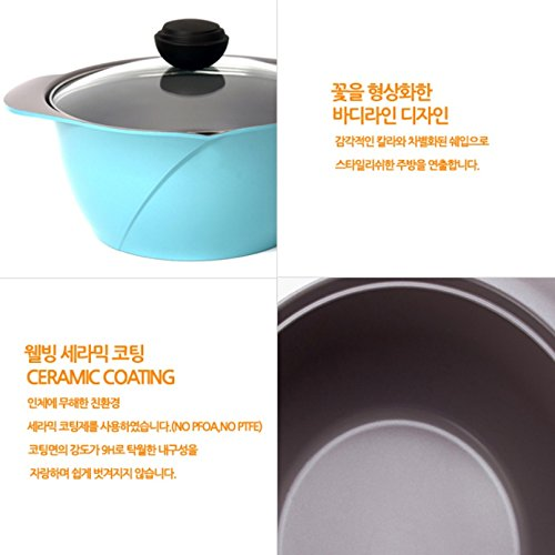 Cheftopf Larose Premium Pot, Specialty Nonstick Dishwasher Safe,Pan with Glass Lid Cookware, Sky Blue